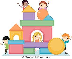 blocs, stickman, fondamental, gosses, illustration, formes