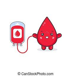 blod, begrepp, söt, tecken, donera