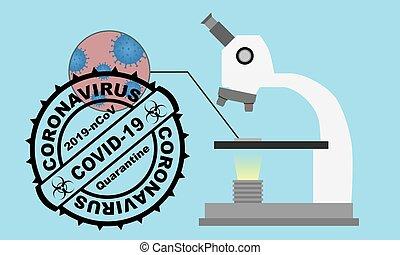 blod celler, stamp., mikroskop, pröva, runda, covid-2019, undersökta, style., virus, vektor, lägenhet, illustration