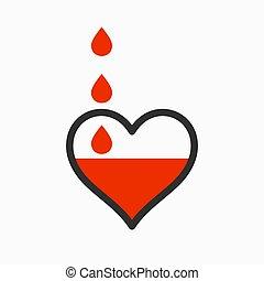 blod, drypande, hjärta