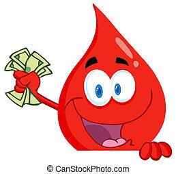 blod gnutta, kontanter, röd, hand