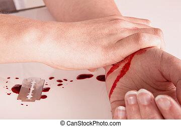 blod, och, självmord