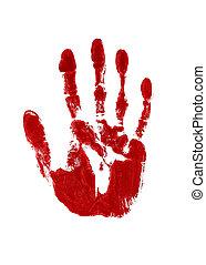 blod, röd, intryck, av, a, lämnat räcka