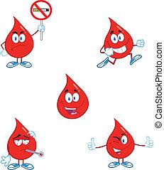 blod, sätta, droppe, kollektion, 7