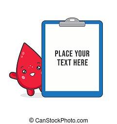 blod, tom, skrivplatta, söt, tecken