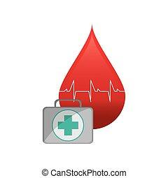 blod, utrustning, ikon, bistånd, droppe, kardiogram, första
