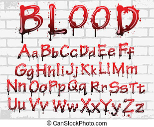 bloed, alfabet, op, de muur