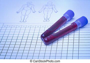 bloed, vial, met, bloed monster, op, registreren, vorm