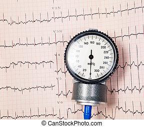 bloeddruk, manometer, op, ekg
