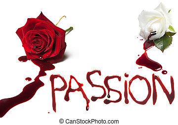 bloedende , rozen, voor, hartstocht