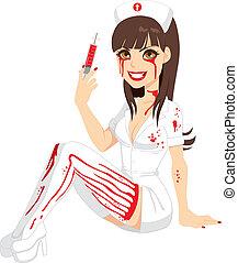 bloedig, halloween, verpleegkundige