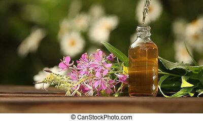 bloeien, sally, essentiële olie, in, mooi, fles, op, tafel