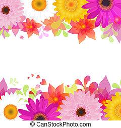 bloem, achtergrond, met, gerber, en, vellen