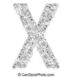 bloem, alfabet, van, rode rozen, karakters, x