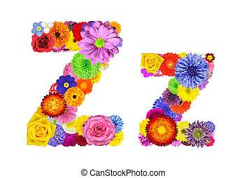 bloem, alfabet, -, vrijstaand, brief, witte , z