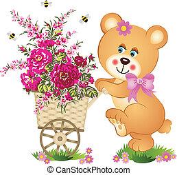 bloem, beer, kar, voortvarend, teddy