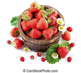 bloem, blad, houten emmer, aardbei, groene, fris