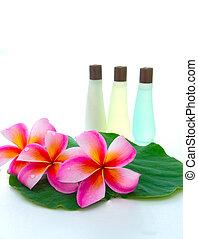 bloem, blad, lotus, frangipani, shampoo, groene, flessen