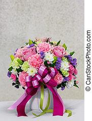 bloem boeket, in, witte , keramische po