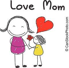 bloem, dochter, geven, moeder
