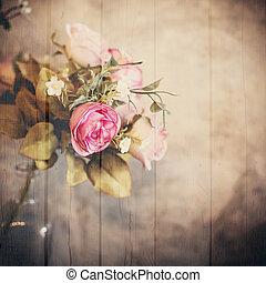bloem, effect., bouquetten, rozen, textured, houten