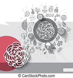 bloem, embleem, iconen, hand, papier, achtergrond, getrokken