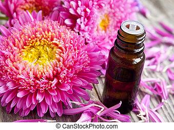 bloem, essentie, fles, met, kroonbladen