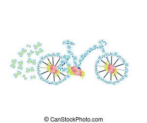 bloem, fiets, ouderwetse , illustratie