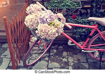 bloem, fiets, tuin