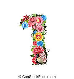 bloem, getal, met, vogels, in, khokhloma, stijl