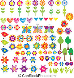 bloem, hart, en, dier, verzameling