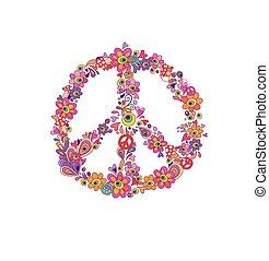 bloem, hippie, symbool, vrede, vrijstaand, achtergrond, afdrukken, witte