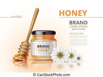 bloem, houten, pot, op, honing, realistisch, waterspreeuw, vector, achtergrond, acacia, spotten