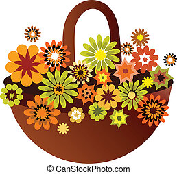 bloem, kaart, lente, illustratie, vector, mand