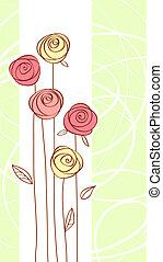 bloem, kleur, roos, groet, rode kaart