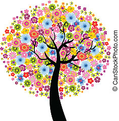 bloem, kleurrijke, boompje