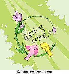 bloem, lente, groene, tijd, spandoek, vogels