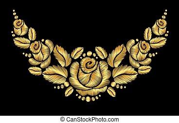 bloem, luxery, goud, roos, ornament, vector, retro, borduurwerk, ouderwetse , halssnoer