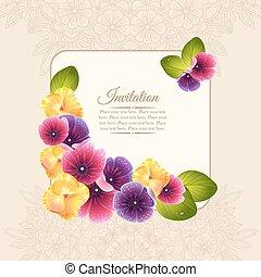 bloem, naturalistic, kleurrijke, frame, krans, elegant