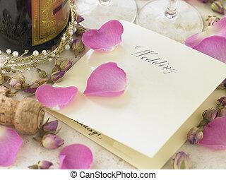 bloem, omringde, volgende, fles, uitnodiging, trouwfeest,...
