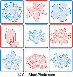 bloem, ontwerp, elements.