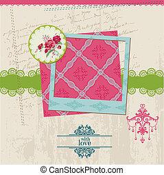 bloem, ouderwetse , frame, -, vector, ontwerp, kaart, foto, plakboek, communie