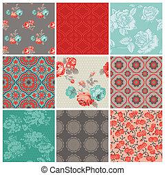 bloem, ouderwetse , -, seamless, vector, ontwerp, achtergrond, set-, plakboek