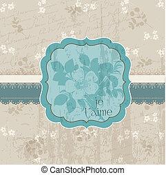 bloem, ouderwetse , -, uitnodiging, vector, trouwfeest, felicitatie, kaart