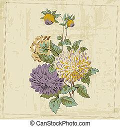 bloem, ouderwetse , -, vector, ontwerp, achtergrond, ...