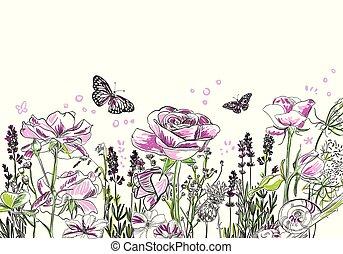 bloem, paarse , roos, lavendel, vector, achtergrond, kaart