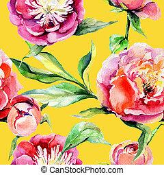bloem, peony, model, watercolor, wildflower, style.