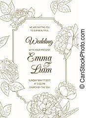 bloem, peony, roos, trouwfeest, mal, uitnodigingskaart