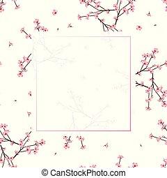 bloem, perzik, momo, achtergrond, witte , spandoek