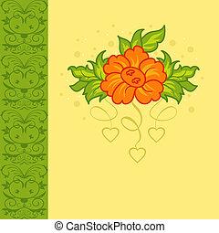 bloem, romantische, kaart